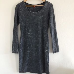 H & M Gray Long Sleeve Acid Wash Dress sz M